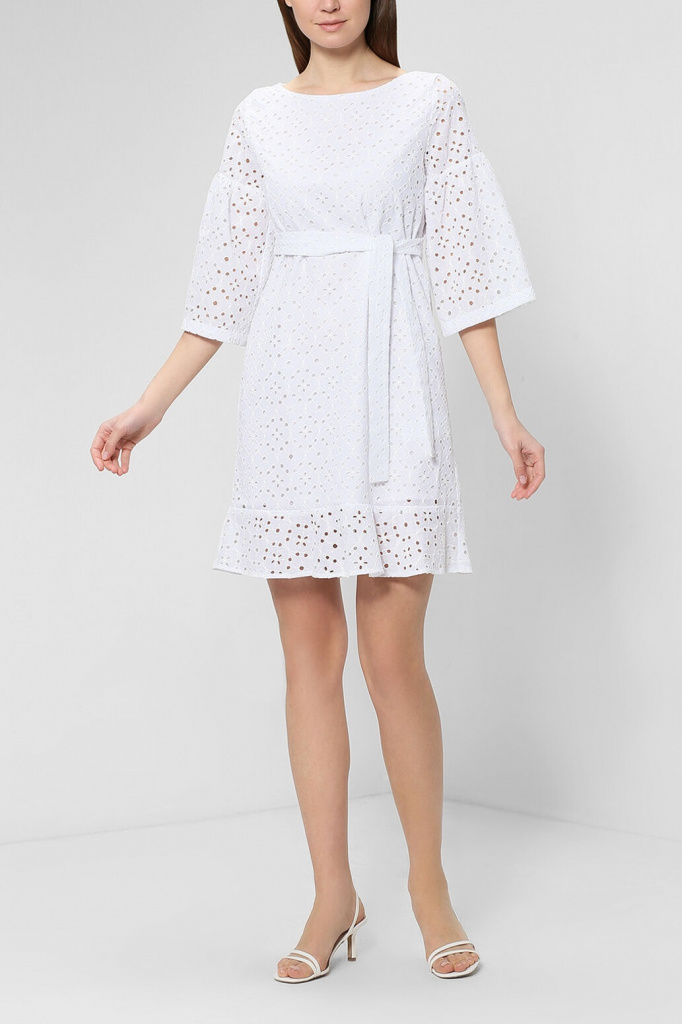 Хлопковое мини платье с поясом
