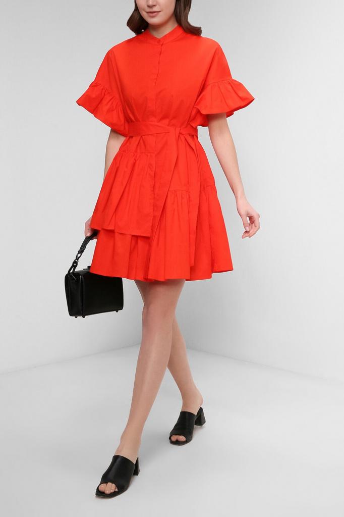Платье из поплина с ассиметричными оборками