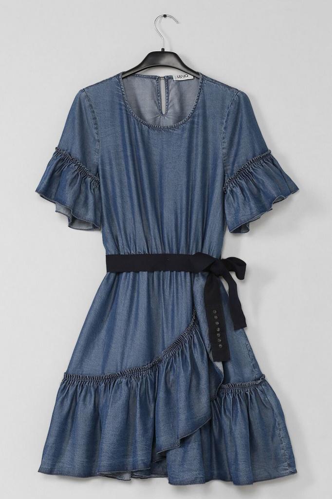 Платье из тонкого денима с оборками