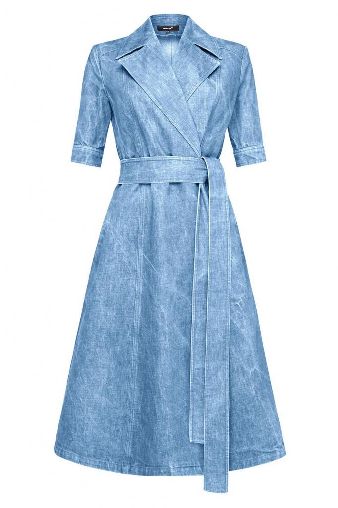 Платье из денима с поясом