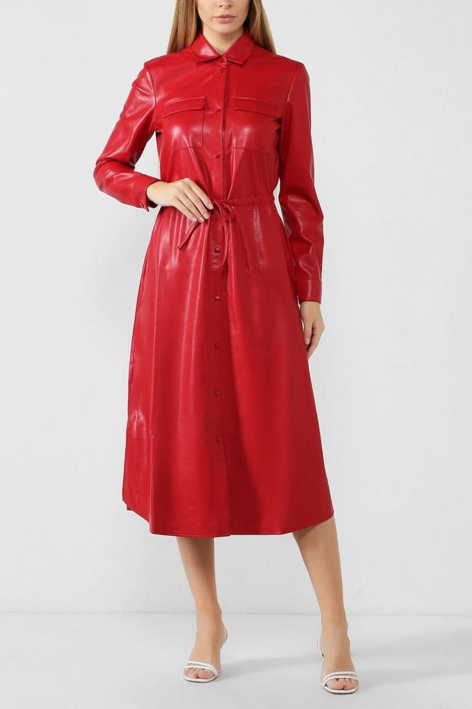 Платье из экокожи с накладными карманами