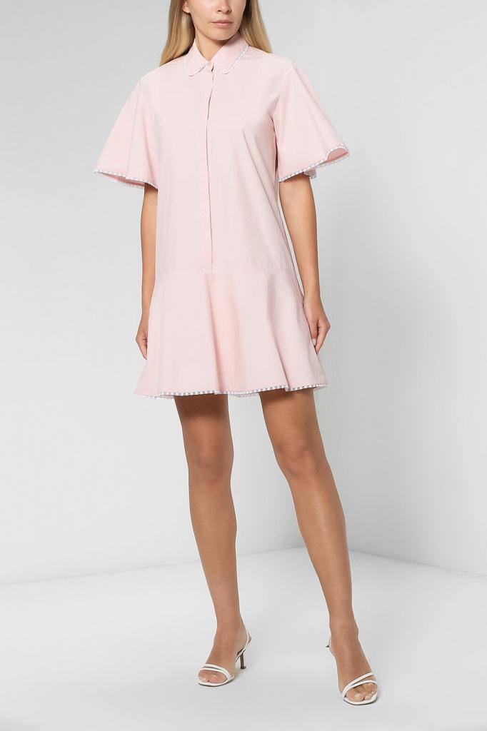 Хлопковое платье-рубашка свободного кроя