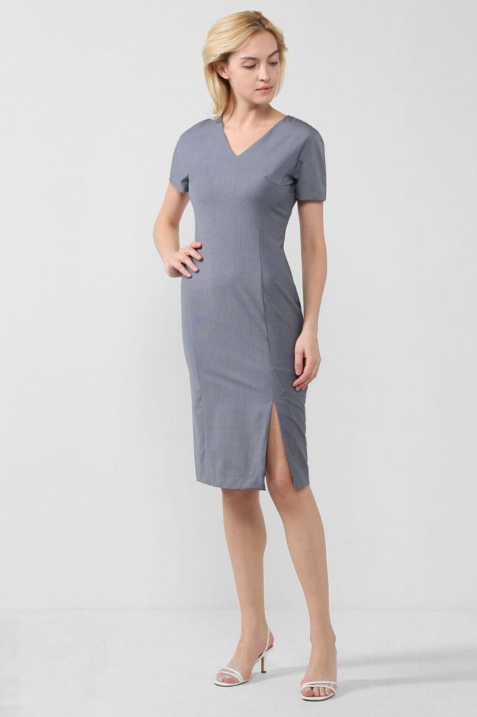 Платье-футляр из смесовой шерсти с разрезом