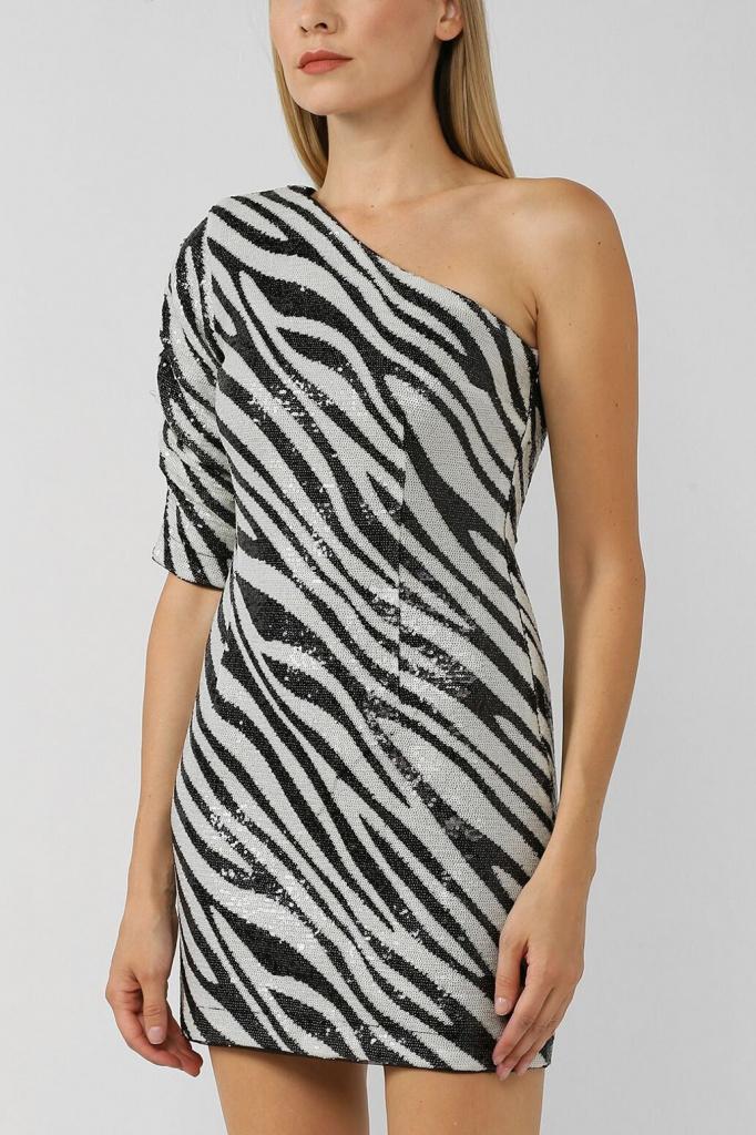 Платье мини с принтом «зебра»
