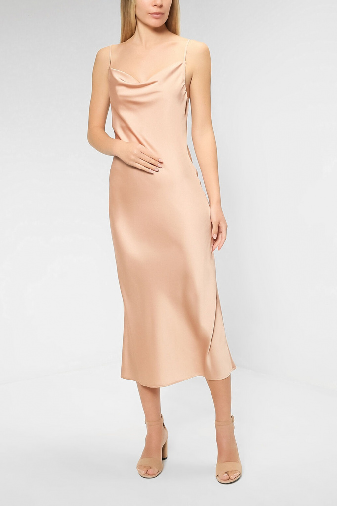 Платье из сатина без рукавов